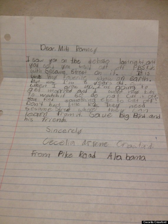 Upset Over Threat to PBS Funding, Little Girl Pens Letter to Romney Telling Him to 'Cut Off' Something Else