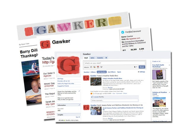 Gawker on Facebook, Twitter, and Email