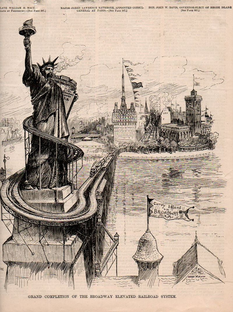 Weird 1880s cartoon imagined the Statue of Liberty would become a subway station