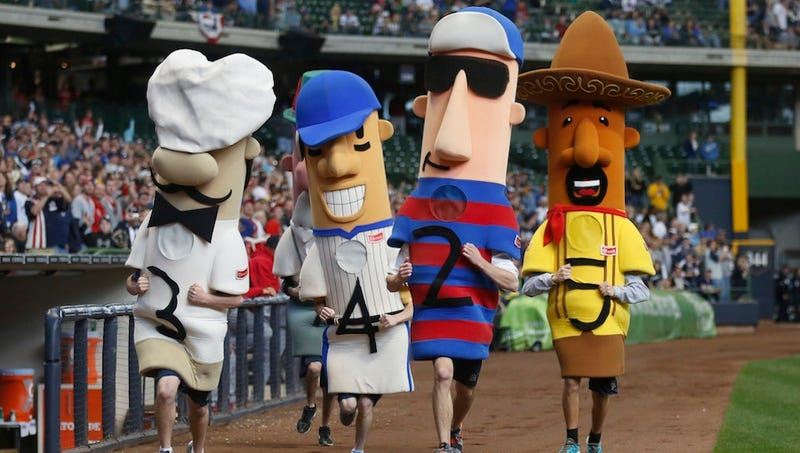 One Of The Brewers' Racing Sausages Is Missing
