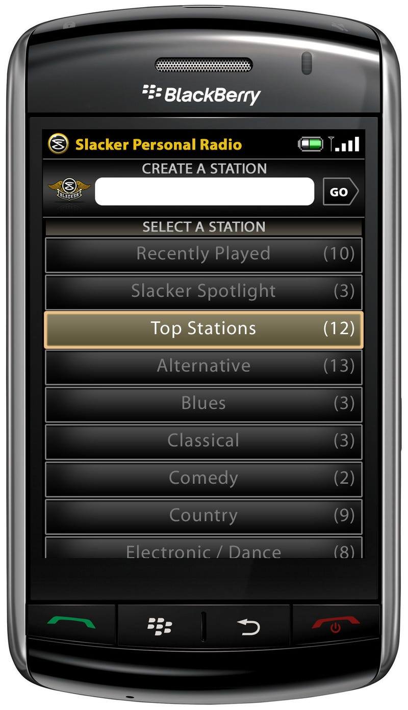 Slacker Internet Radio Now Available On BlackBerry Storm