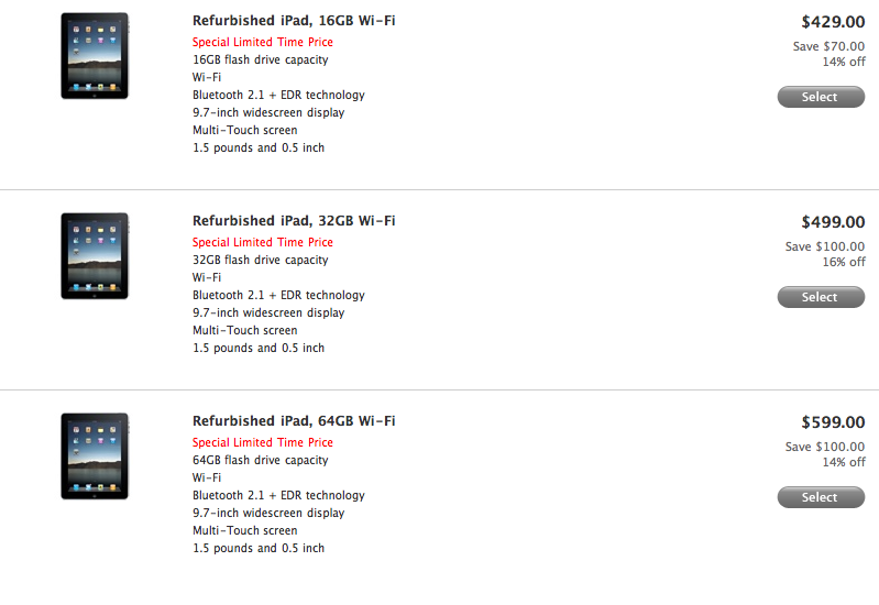Apple Selling Refurbished iPads For $429