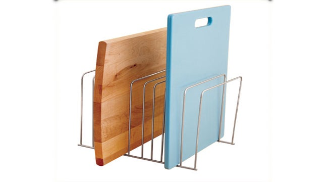 Use Office File Folder Racks to Keep Cutting Boards Organized and Easy to Reach