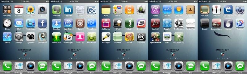 Five Screens of Jailbroken iPhone Apps