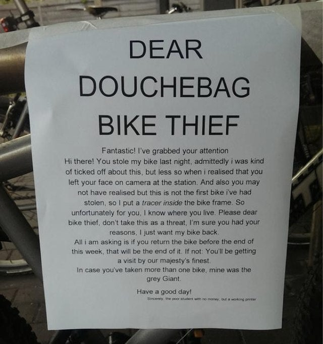 Dear Douchebag Bike Thief, You Messed With the Wrong Cyclist