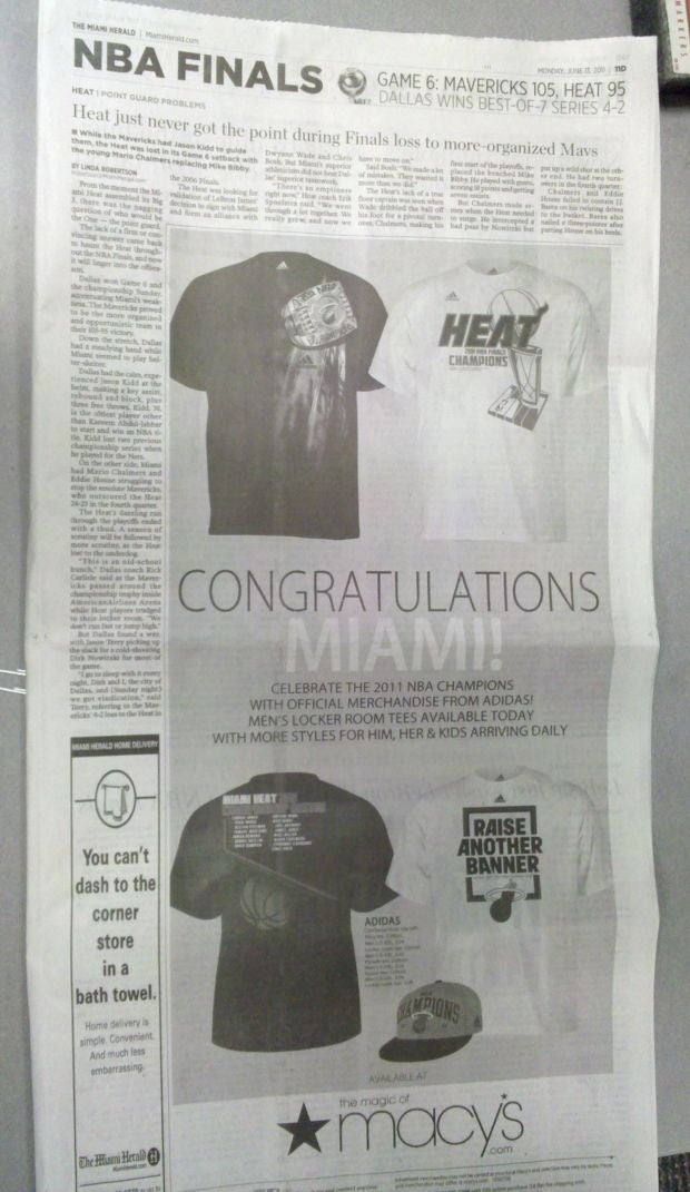 At Least One Newspaper Thinks The Heat Won