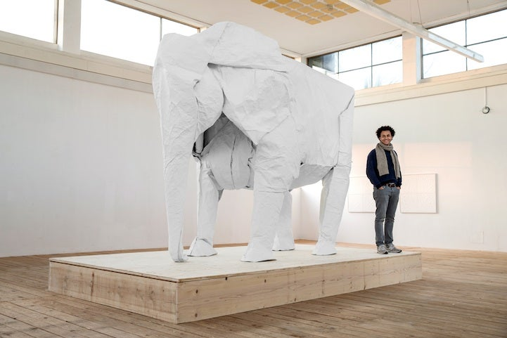 This life-sized origami elephant was made from a single sheet of paper