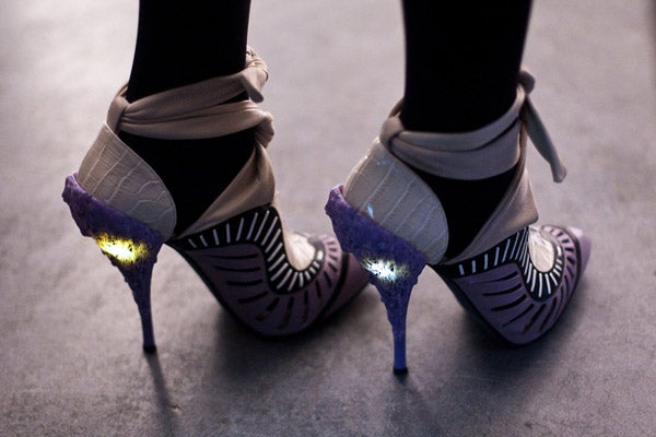 glowing three inch heels the adult version of light up sneakers. Black Bedroom Furniture Sets. Home Design Ideas