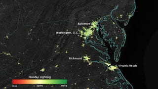 All those Christmas lights people put up for the holidays? NASA can see it from space. Woah.