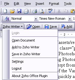 Access and save Zoho Office documents in Microsoft Office