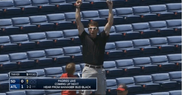 Adorable Kid Hugs His Dad For Catching A Foul Ball