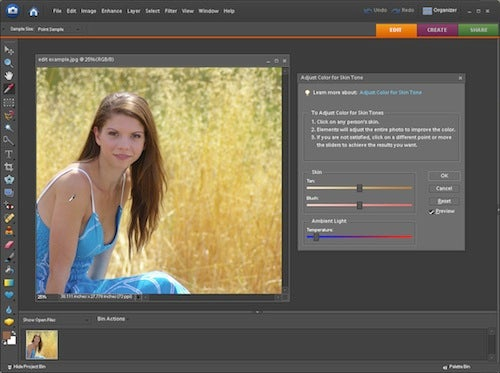 Fix Uneven Skin Tones in Photoshop Elements
