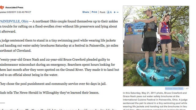 Ohio Couple Sentenced To Standing in a Kiddie Pool