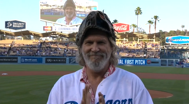 "Jeff Bridges With The Big Lebowski First ""Pitch"" At Dodger Stadium"