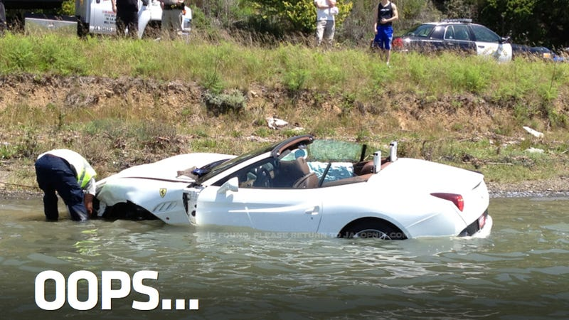 Brand New Ferrari Crashes Into Bay On Test Drive