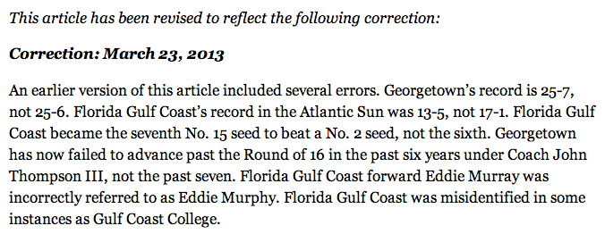 A New York Times Story About Georgetown-FGCU Required Some Great Corrections