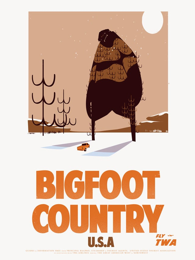 Retro travel posters for the world's top cryptozoological hot spots