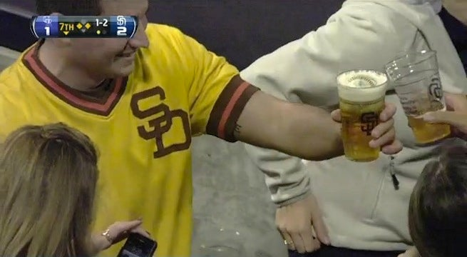 Padres Fan Catches Foul Ball In Beer Cup, Chugs
