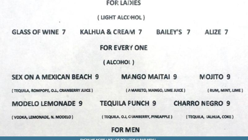 This 'For Ladies' Drink Menu Is Weak-Sauce Bullshit