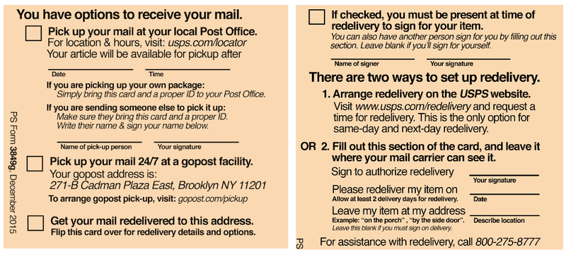 Redesigned the USPS Package Delivery Slip Thank God – Delivery Slip