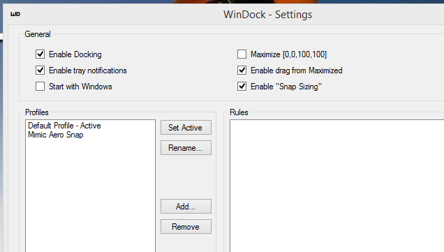 WinDock Customizes Snapping Sizes and Locations in Windows