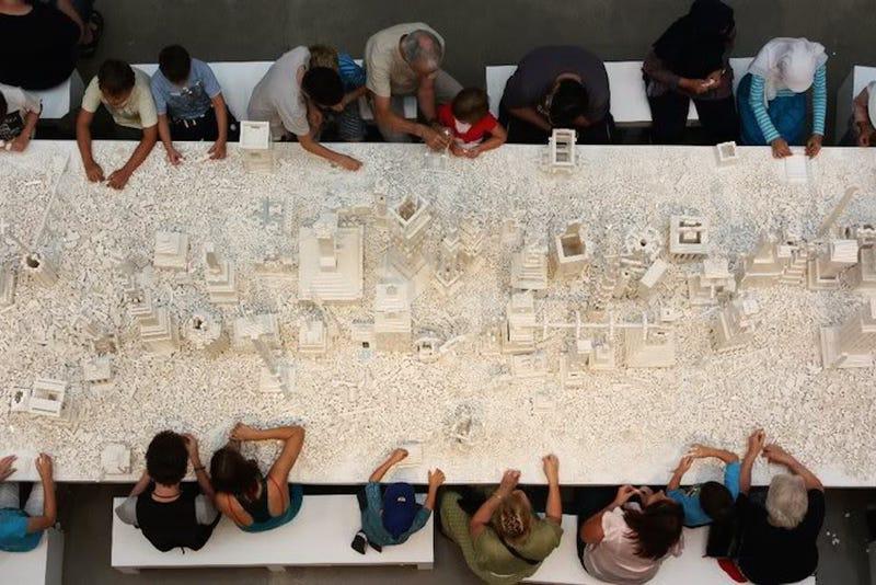 These people are building a massive 150,000-brick Lego cityscape