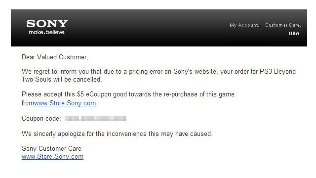 Sony Cancels Bargain Beyond Two Souls Preorders