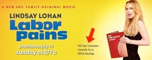 Linday Lohan Dons Maternity-Sized Coke Pants