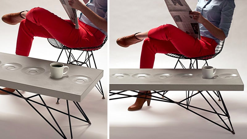 Coffee Table With Built-In Saucers Means No More Stressing Over Coasters