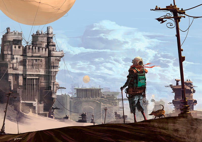 The wanderer finds a city in the toxic desert