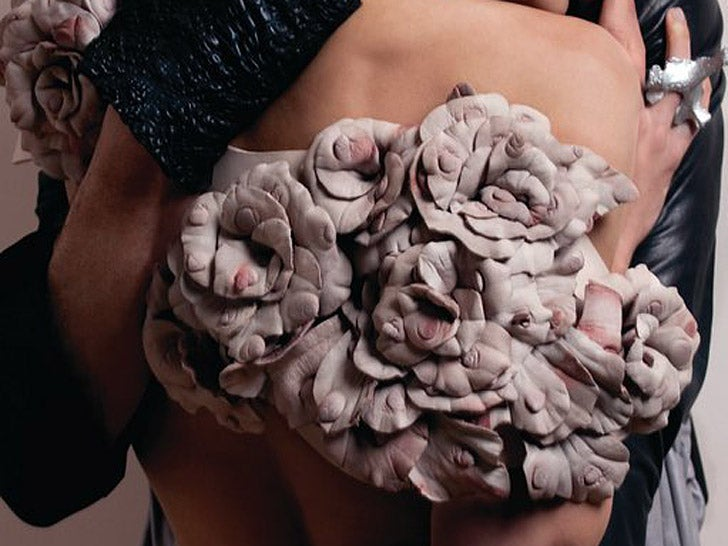 This is what a dress made of 3,000 cow nipples looks like