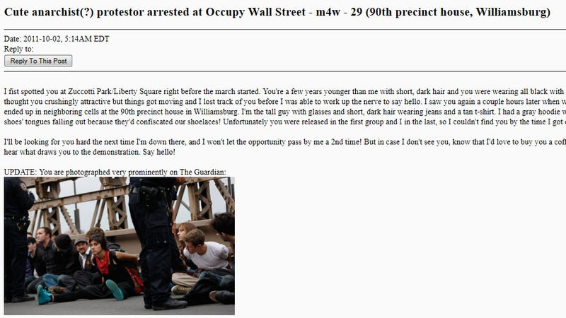 Wall Street Protester's Missed Connection: 'We Got Arrested On the Brooklyn Bridge'