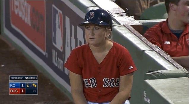 Red Sox Ball Girl Fields Fair Ball, Immediately Regrets It