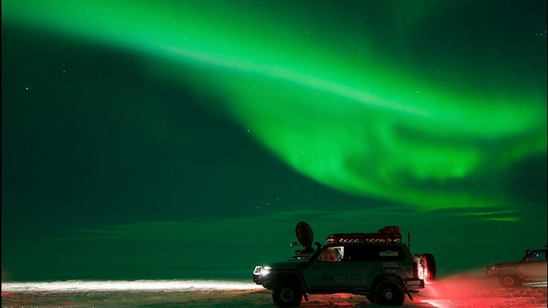 Russian SUVs with amazing Northern Lights