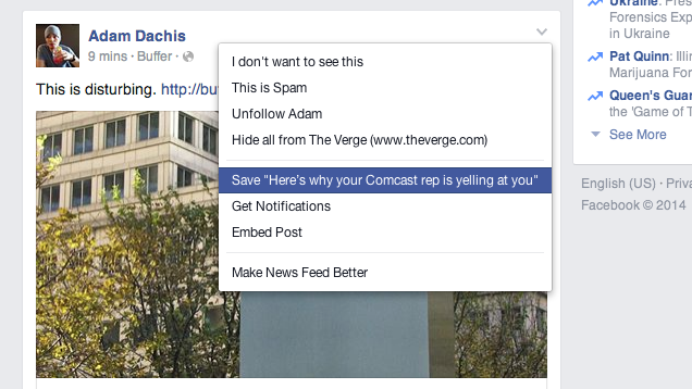 how to save articles on facebook
