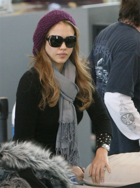 Jessica Alba Hits Airport With Anatomical Luggage