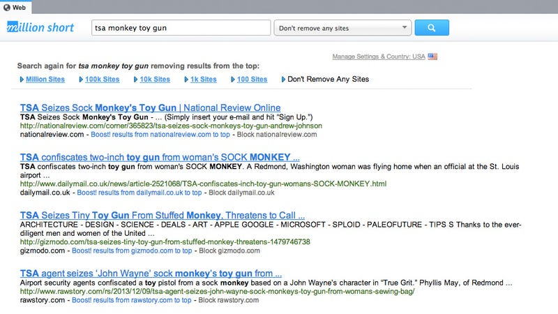 What Searches Look Like With the Top Million Sites Removed