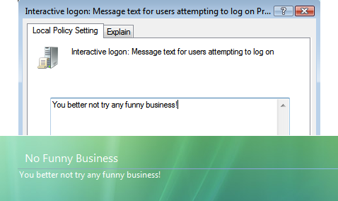 Create a custom logon message in Vista