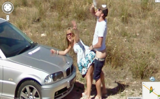Couple Spots Approaching Google Street View Car; Stops By the Side of the Road to Have Sex