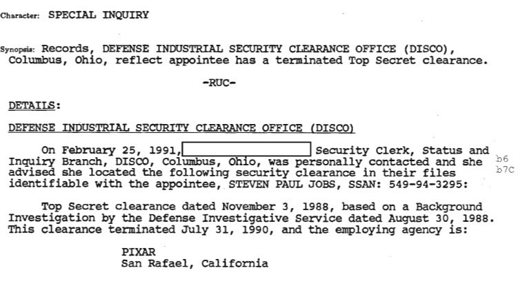 Steve Jobs' FBI File Released