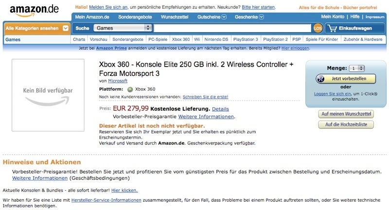 Amazon Germany Lists 250GB Xbox 360