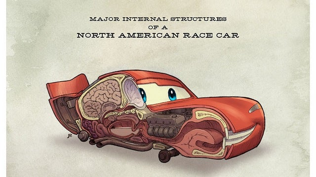 Anatomical illustrations of Pixar's Cars reveal where Lightning McQueen keeps his brain