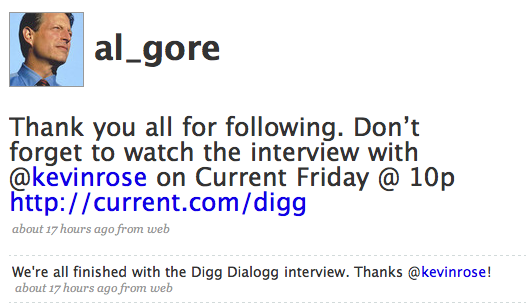Digg's Kevin Rose interviews former Digg suitor Al Gore