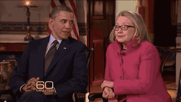 BFFs Barack Obama and Hillary Clinton Say Giddy Goodbye on 60 Minutes