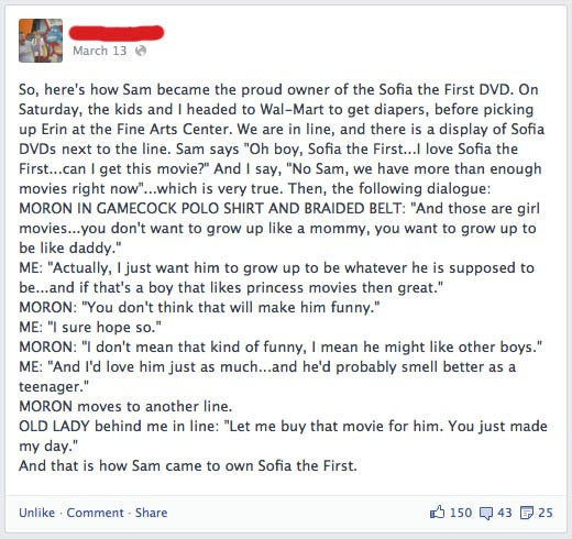 Dad Schools Dummy Who Says Buying Princess Movie Will Make His Son Gay