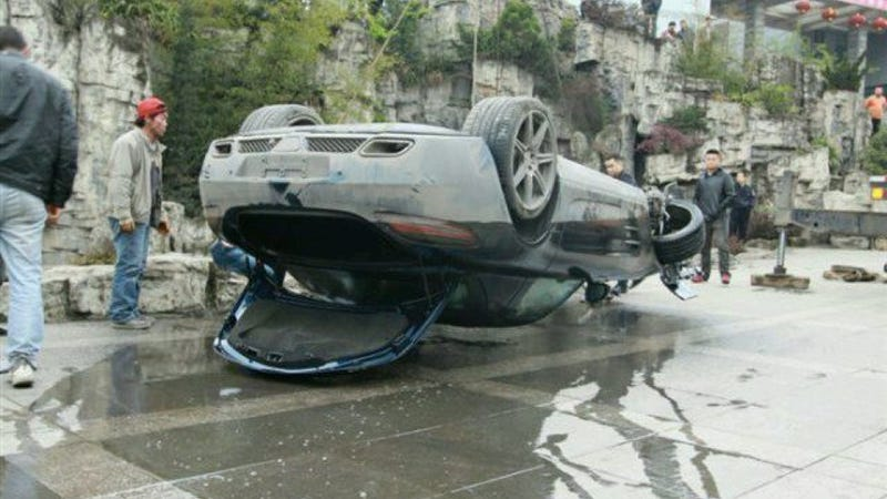 This Is What A Mercedes-Benz SLS AMG Looks Like When It's Upside Down In A Chinese Pond