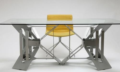 Futuristic Origami Desk Cut and Folded from a Single Sheet of Steel