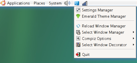 Control Compiz Fusion from the Tray
