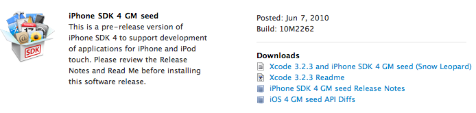 Apple iOS 4.0 Gold Master Now Available For Download