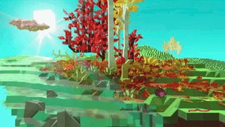 """Cuboid hedgehogs are the cutest hedgehogs. This GIF is from a """"preview of a biome's artistic development"""" from Planets³, the Kickstarter-funded Minecraftlike that's going pre-alpha in January. The full video is below, showing off the whole (rather gorgeous) scene, with the hedgehog squeaking adorably."""
